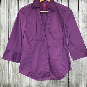 Purple tailored-fit 3/4 sleeve button down shirt